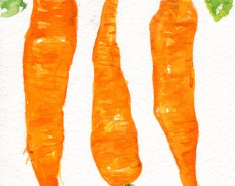 Carrots Watercolor Paintings original,  Vegetables painting 5 x 7, original watercolour, kitchen home decor, SharonFosterArt Farmhouse decor