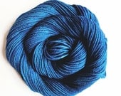 twilight / hand dyed yarn / fingering sock dk bulky yarn / super wash merino wool yarn / single or ply / choose your base / deep teal blue