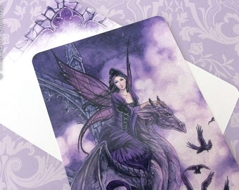 Gothic fairy dragon art postcard, meredith dillman illustration