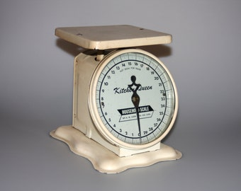 Kitchen Queen Metal Enamel Household Scale Cream Colored Vintage 1969