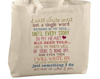 Writer's Canvas Tote Bag Writer Gift Library Bag Author Swag Book Birthday Gift Congratulations For Book Publication Gift Idea Writing Quote