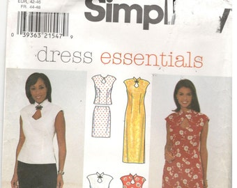 Simplicity 8125 Size 16, 18, 20. Women's and plus size dress, pants, top and skirt. Sheath dress with keyhole detail at neckline, sleeveless