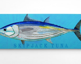 Fish Gifts for Him- Skipjack Tuna Art Block- Wife to Husband Gift- Saltwater Fish Art- Art on Wood- Gifts- for Dad Gifts from Daughter