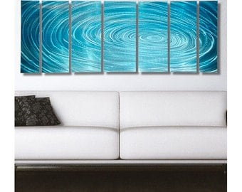 Huge Abstract Water Inspired Painting, Modern Multi Panel Metal Wall Art in Aqua Blue, Contemporary Wall Art - Aqua Ripple XL by Jon Allen