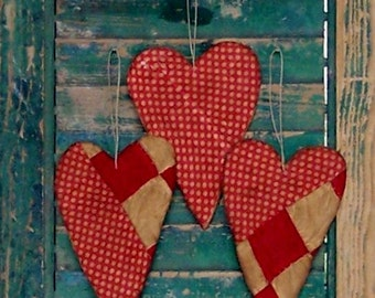 3 Rustic Heart Ornaments, Farmhouse Style Valentine Ornaments, Antique Quilt Country Christmas Decor, Red & White Whimsical Polkadots