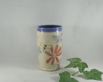 Ceramic Tumbler  - No handle teacup -  flower vase, pencil cup or toothbrush holder - wine tumbler or cup - utensil holder for kitchen 769