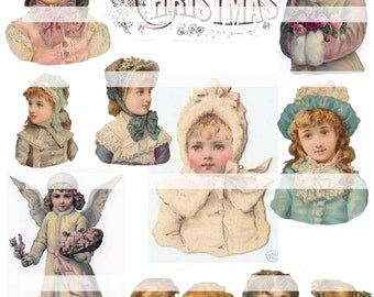 Pretty Victorian Christmas Collage 2,  Digital Collage Sheet