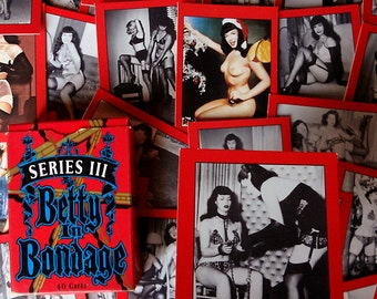 40 BETTIE PAGE cards - 1991 Mother Productions Betty in Bondage trading cards - Cute sexy vintage pinup paper ephemera fetish bdsm nudies