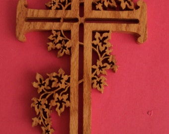 Ornate Scrolled Wood Cross Wall Decor