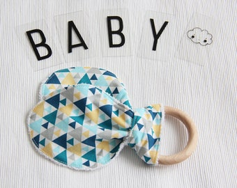 Ear bunny teether ring - triangles - blue - gray - yellow - bamboo terry cloth - baby gift - baby shower - birthday - baby boy