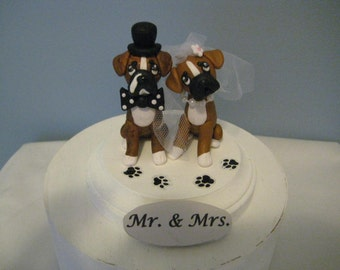 Boxer dogs  Wedding Cake Topper, clay, handmade, OOAK, whimsical, bride and groom, pawsnclaws, paw prints, We do too