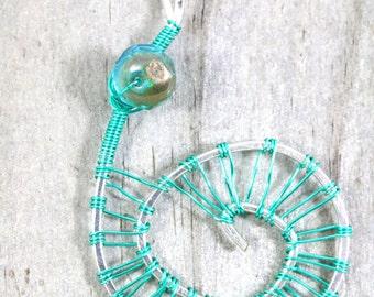 Spiral Necklace Aqua Blue Beach Jewelry Celtic Spiral Silver Pendant Wire Wrapped Jewelry Seashell Fibonacci Golden Ratio Spiral Pendant RTS