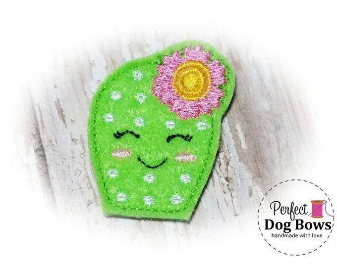 Cactus DOG BOW, Felt Cactus Plant, Puppy Dog Bow, Desert Rose, Embroidery Design
