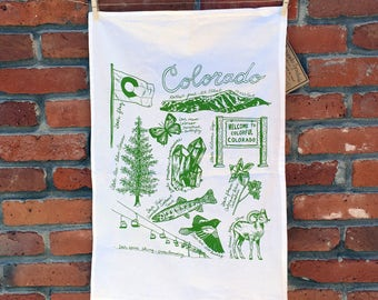COLORADO SYMBOLS - flour sack tea towel cotton screenprinted with green ink white fabric outdoors nature fauna