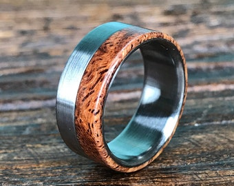 Titanium Ring, Wood Ring, Afzelia Burl Ring, Wedding Ring, Mens Ring, Mens Wedding Band, Custom Made Ring, Handmade Ring, Unique Ring