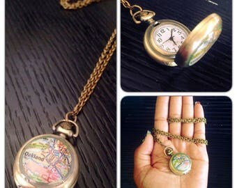 "Oakland Map Glass Art Watch Necklace - Brass Pocket Watch Necklace - 1.75"" round -  Jack London Square  Real working watch Lake Merritt - SM"