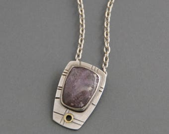 Lepidolite Slide Pendant, sterling silver necklace, mixed metal, riveted, industrial, purple, cabochon pendant, oxidized, rustic, metalwork