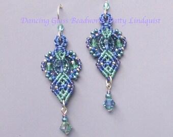 Swarovski Crystal and Glass Macrame Earrings, Lavender and Sage Earrings, Pastel, Micro Macrame Earrings, Macrame Jewelry, Classic Style