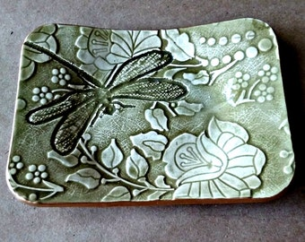 Ceramic Trinket Dish Sage Green edged in gold