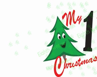SVG, dxf, Download My First Christmas, svg First Christmas Tree; dxf 1st Christmas; First Christmas with tree