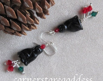Lucky Black Kitty Cat Earrings from Cornerstoregoddess EHAG