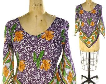 70s Gypsy Peasant Blouse / Vintage 1970s Sheer Indian Cotton Gauze Floral Block Print Angel Sleeve Hippie Boho Bohemian Scarf Top / Medium