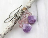 RESERVED - Pink Topaz and Amethyst Oxidized Silver Earrings