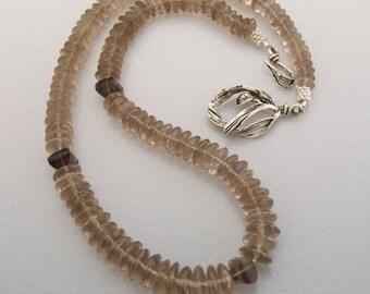 Smoky Quartz Necklace Silver Smoky Quartz Women Gemstone Jewelry Set  Gemstone Necklace and Earring Natural AAA Smoky Quartz