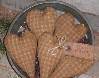 Primitive Grungy Rustic Country Mustard Yellow Homespun Old Fashioned LOVE Hearts Heart Shaped Bowl Fillers - Ornies - Tucks - Ornaments