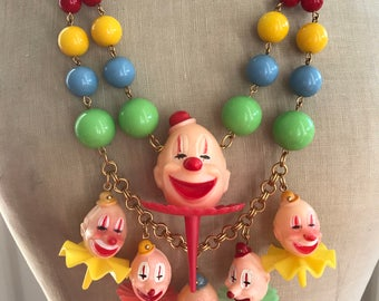 Send In The Clowns - Vintage Statement Necklace with Cake Toppers