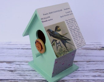 Book page decorative hand-painted wooden birdhouse, green, unusual nature / woodland home decor, gardener / bird lover gift