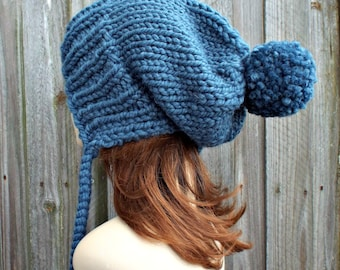 Denim Blue Slouchy Hat Knit Ear Flap Beanie with Pom Pom - Charlotte - READY TO SHIP