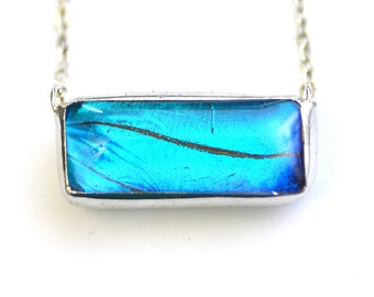 Bar Necklace. Real Butterfly Wing Necklace. Blue Morpho Bar Necklace. Silver Bar Necklace. Butterfly Bar Necklace. Blue Butterfly Necklace.