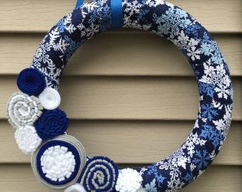 Winter Wreath - hannukah wreath - Snowflake Wreath - Airforce Wreath - Christmas Wreath - Holiday Wreath - Felt Flower Wreath - Felt Flowers