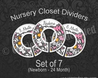 Bunny & Skull Nursery Closet Dividers, Skulls Baby Closet Divider, Baby Clothes Organizers, Goth Emo Baby, Pink Gray Nursery