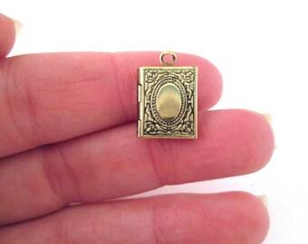 Mini brass book locket charms, 11x14mm, pick your amount, D193