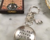 Graduation Gift, Compass Keychain, Dr. Seuss Oh the Places You'll Go Keychain, Custom Keychain, Graduation Gift
