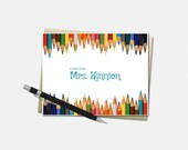 Personalized Note Cards, Teacher, Pencil, Set of 8, Personalized Stationery for Teachers, Teacher Supplies, Stationary, Folded Notecards