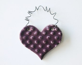 Plum Purple ornament - one ceramic clay heart - handmade, ready to mail