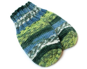 Thumbless Blue Green Baby Mittens. Knit No Thumb Cordless Baby Mitts. Wool-Free Winter Mittens on String. Infant 9 to 12 Months Hand Warmers