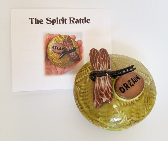 Shaman Rattle - Spirit Rattle - Inspirational - Meditation Tool - Dragonfly - Fern - Handmade Pottery - Meditation Altar - Relaxation