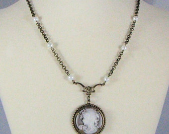 Victorian Pale Brown Cameo Necklace with Earrings