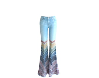 Made to Order - Add Bellbottoms to Your Own Jeans - Crochet - Restyle / Upcycle