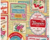 HALF YARD Yuwa - Vintage Fruit and Flower Labels on YELLOW Colorway D - Atsuko Matsuyama 30s collection -  Japanese Import Fabric