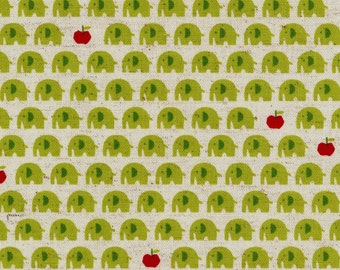 HALF YARD Kokka - Animar+ - Elephant Apples Green and Red - 85/15 Cotton/Linen Blend - Japanese Import - 44000-400C