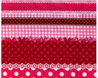 SALE (30) HALF YARD - Pink Stripe Cheater - Cosmo Textiles, Japanese Import, Pink, Red, Brown, Dots, Ribbon, Flowers, Strawberries