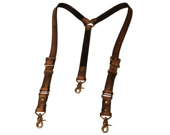 Distressed Brown Leather Suspenders with antique brass hardware