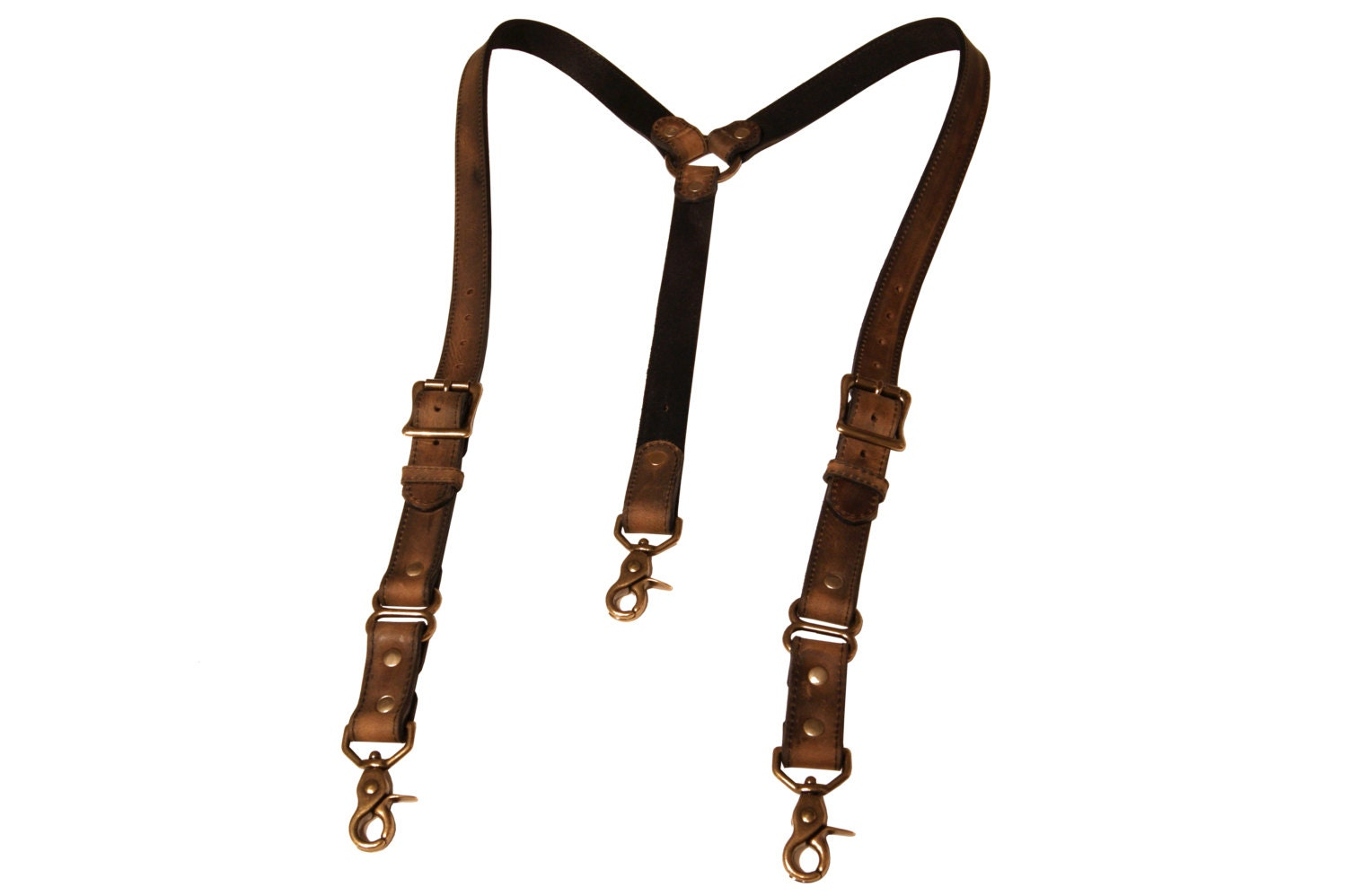 Distressed Brown Leather Suspenders With Antique Brass