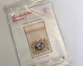 Vintage Embroidery Kit Danish Table Runner - counted cross stitch kit Bird's Nest  - Haandarbejdets Fremme / The Danish Handcraft Guild