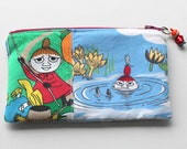Pretty zippered blue red pouch and a charm with Moomin Little My